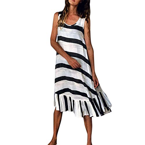 Women's Summer Tank Dresses Casual Striped Sleeveless Ruffles Beach Swing Maxi Dress Plus Size White