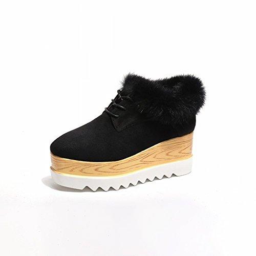 Zapatos Amortiguados con Algodón Grueso Mate Todo Partido , negro , EUR35