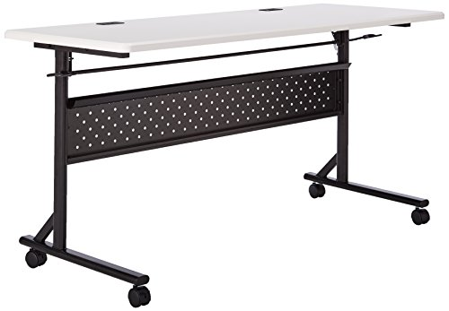 Lorell 60 x 24 x 29.5-Inch Flipper Training Table, Silver/Black