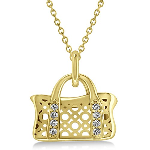 Womenâ€s Purse Pendant Necklace with Diamond Accents and Chain 14k Yellow Gold (0.08ct)