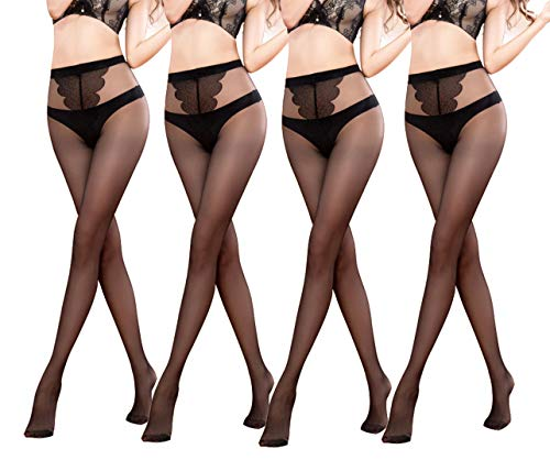 Yulaixuan Pantyhose for Women 4 Pairs Butterfly Pattern Crotch 15 Denier Sheer Stockings Full Length Reinforced Tights (4 Black)