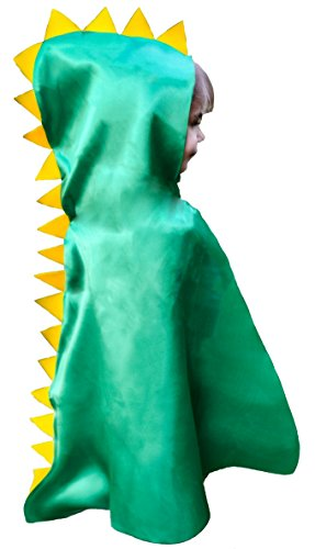 Dinosaur Cape Costume Hood with Spikes Halloween Boy Girl Toddler Gift Green for Imaginative Easy Play