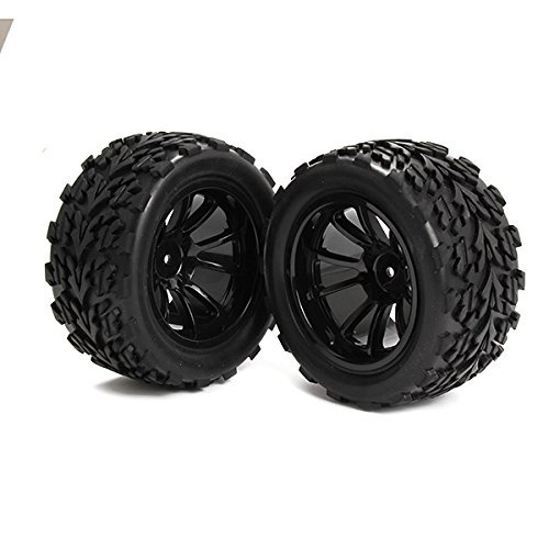 Generic Rubber Tires and Plastic Wheel Rims 10 Spoke for RC 1:10 Off-road Car Black Pack of 4