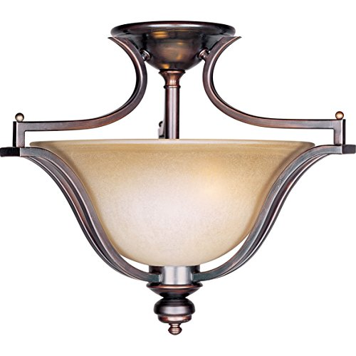 Maxim 10171WSOI Madera 3-Light Semi-Flush Mount, Oil Rubbed Bronze Finish, Wilshire Glass, MB Incandescent Incandescent Bulb , 100W Max., Dry Safety Rating, Metal Shade Material, Rated Lumens (Wilshire Silver Chandelier)