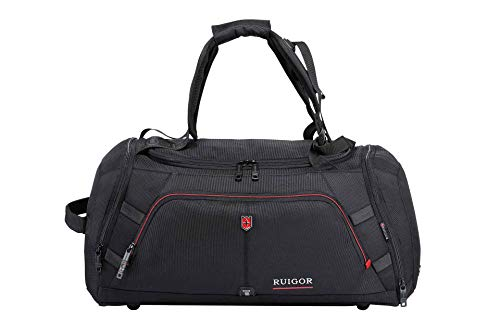 Ruigor Sport Gym Duffel Bag with Sweat Control Shoe Compartment, Water Resistant, Large Sports Duffle Motion 12 by Swiss Black