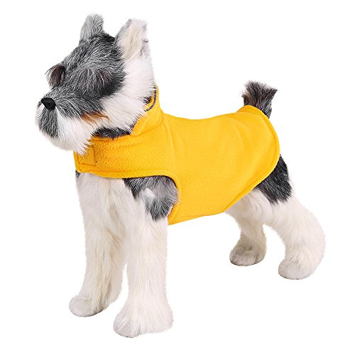 FOREYY Reflective Dog Fleece Coat with Leash Attachment Hole - Dogs Pet Autumn Winter Jacket Sweater Vest Apparel Clothes for Small Medium and Large Dogs(Orange,S)