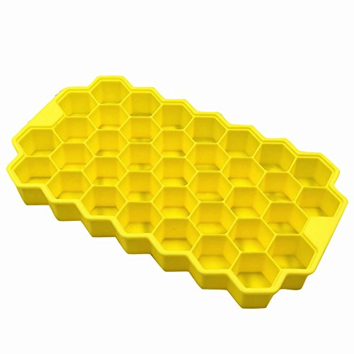 - AfazfaHoneycomb Shape Ice Cube 37 Cubes Ice Tray Ice Cube Mold Storage Containers (Yellow)