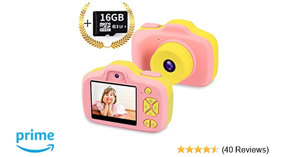 0417fb9d2 Kids Digital Camera Gifts for 3-12 Year Old Girls,8MP HD Front/Rear Selfie  1080P Video Shockproof Mini Child Toy Camcorders with 2.3 inches LCD for  Indoor ...