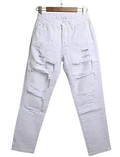 Pantaloni YFLTZ jeans tinta in unita White slim da donna vnSpdrqHn