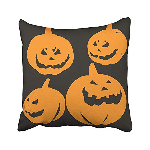 Cellcardphone Jack Pumpkin Halloween Lantern Candle Carving Creepy Cutout Dark Eerie Throw Pillow Covers for Home Indoor Comfortable Cushion Standard Size 18x18 in ()