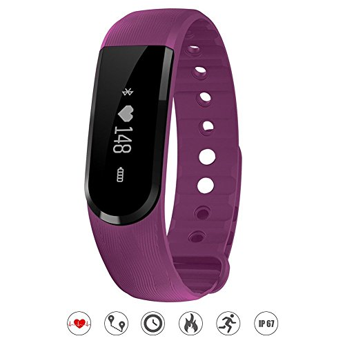 Heart Rate Monitor Watch,EiffelT Water Resistant Fitness Tracker Armband ActivityT Sleep Monitor with Bluetooth 4.0 Pedometers Activity Tracker for Android iOS Smartphone (Purple) (Purple)