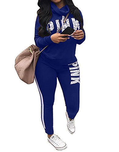 Chellysun Women Jumpsuit Cowl Neck Sweatshirt and Long Pants Tracksuit Letter Print 2 Piece Outfits Blue - Tracksuit Womens Cool