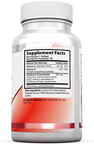 Health Labs Nutra 50 1 Triple-Strength Cranberry Concentrate with Vitamins C E 60 FastActing Softgels 30-Day Supply