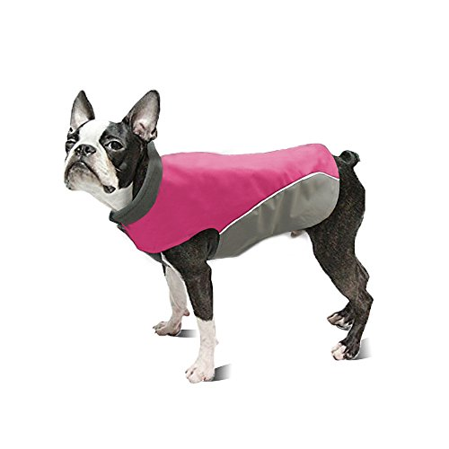 Windproof Water Resistant Dog Jacket - Reflective and Warm Fleece Padded Winter Dog Coat Cold Weather Coats Vest - Lightweight Dog Rain Jacket Outdoor - Hot Pink for Medium and Large Dogs 12