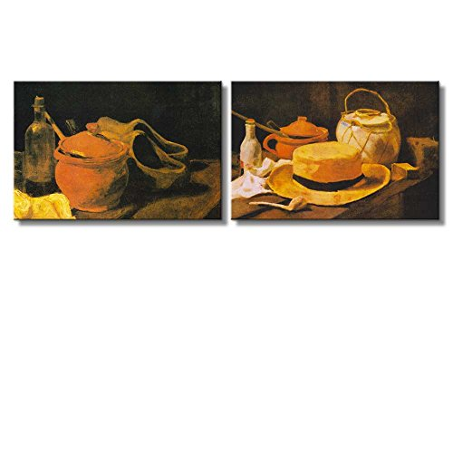 Still life paintings by Vincent Van Gogh Oil Painting Reproduction in Set of 2 x 2 Panels