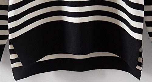 Tempo Giovane Donna Pullover Glamorous Top Maniche Moda Shirts Autunno A Stripe Jumper Tendenza Bluse Semplice Camicia Streetwear Elegante Libero Rotondo Nero Primaverile Lunghe Collo Felpe Maglioni wwar7q