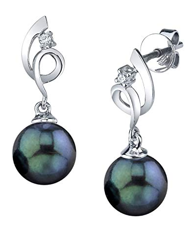 THE PEARL SOURCE 14K Gold 8.5-9mm AAA Quality Round Black Akoya Cultured Pearl & Diamond Symphony Earrings for ()