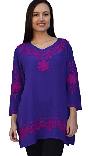 Nia Embroidered Crepe Rayon V Neck Tunic: Mauve Embroidery on Purple: Sz 2X