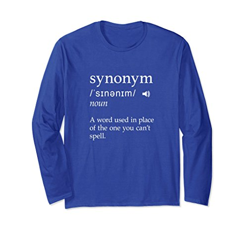 Unisex Synonym Definition Grammar Shirt English Teacher Gift 2XL Royal Blue