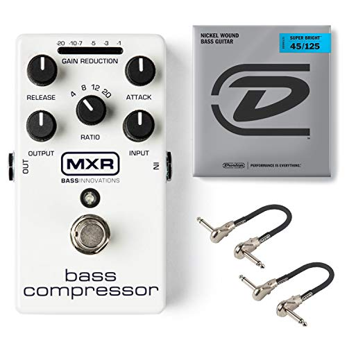 MXR M87 Bass Compressor Effects Pedal Bundle with 2 MXR Patch Cables and Dunlop Super Bright Bass Strings, Nickel Wound (Medium .045-.125, 5 Strings/Set)