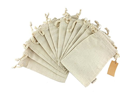 Linen Gift Bag (Organic Cotton Reusable Produce Bags, Biodegradable Eco-Friendly Bags, Small 5x7 inches, Travel Pouch, Sachet bags, Home and Vegetable Storage, Canvas Tote, Gift Bags, Linen Bag, 12 count pack Leafico)
