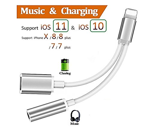 Lightning to 3.5mm Aux Headphone Jack Audio Adapter for iphone 7 / 8 / X / 7 plus / 8 plus (Support iOS 10.3, iOS 11.3), 2 in 1 Lightning Adapter and Charger (Silver)