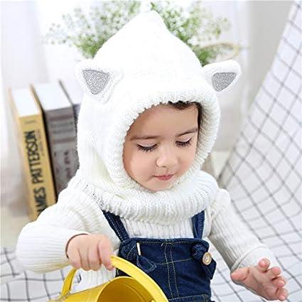 Dinokids Girls Cute Winter Knit Warm Earflap Hood Hat Scarves with Ears