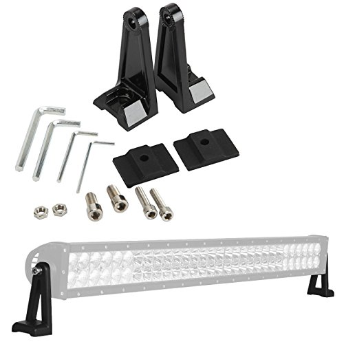 (ALAVENTE Light Bar Side Brackets Universal Side Brackets Kit for Mounting Double Row LED Work Light Bar Mount (Pair, Black))