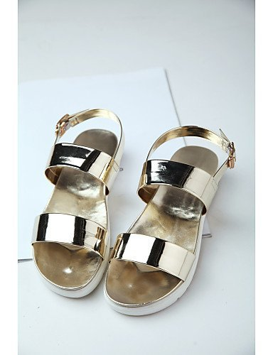 Dress Silver Leather Women's Casual Gold Heel Shoes golden Slide Patent Comfort Sandals ShangYi Flat qzpAaUPqw