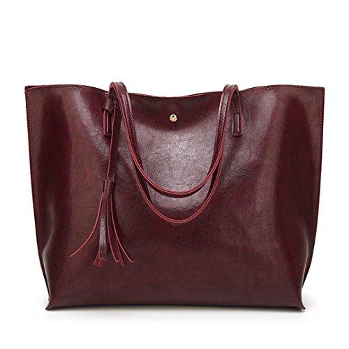 LIUGHGB Luxury Women Large Capacity Totes Leather H Bags Vintage Ladies Big ping Top-H le H Bags for Women Bolsas Femininas Burgundy