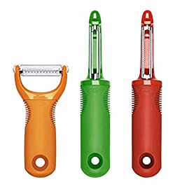 OXO 1137680 Good Grips 3-Piece Peeler Set, 10-inch, Green/Orange/Red 39 Sharp stainless steel blades Removes just the peel without digging into fruit beneath Handle is comfortable even during repetitive action peeling