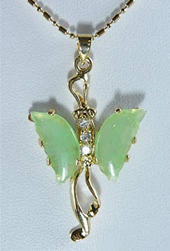 Natural Light Green Jade Yellow Gold Plated Crystal Butterfly Pendant Necklace ()