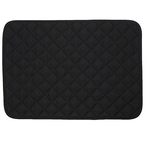 Set of 2 Black Quilted Rectangle Placemats
