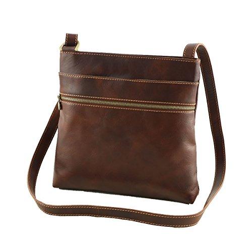 bupell Umhängetasche Schultertasche - 1026 - Tasche aus echtem Leder - Braun - Made in Italy