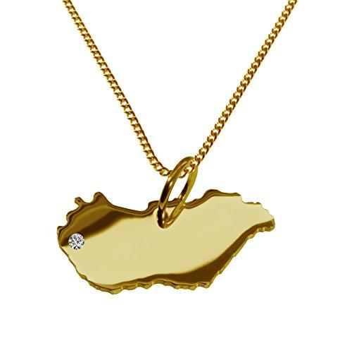 Endroit Exclusif Hongrie Carte Pendentif avec brillant à votre Désir (Position au choix.)-avec Chaîne-massif Or jaune de 585or, artisanat Allemande-585de bijoux