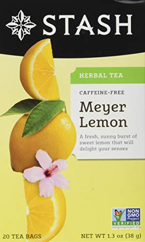 Stash Tea Meyer Lemon Herbal Tea 10 Count Tea Bags in Foil (Pack of 12) (Packaging May Vary) Individual Herbal Tea Bags for Use in Teapots Mugs or Cups, Brew Hot Tea or Iced Tea