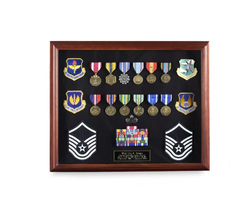 "Shadowbox Display Frame – 20 x 16"" with Cherry Finish USMILITARYSTUFF 122C"