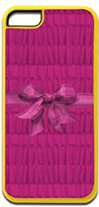 Magenta Ruffles Pattern with a Ribbon-Iphone 5C plastic YELLOW case - compatible with iPhone 5C only