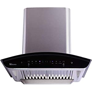 Seavy 60 cm 1200 m3/hr Auto Clean Chimney with Free Installation Kit (Zeroun Plus SS 60, 2 Baffle Filters, Touch Control…