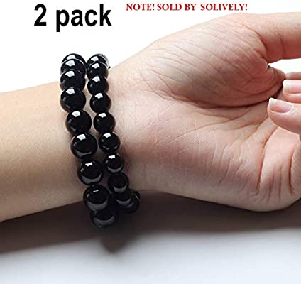 Black Tourmaline Crystal Bracelet  Magnetic Bracelet for Men and Women(2 Pack)