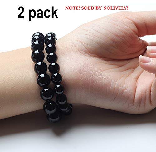 Black Tourmaline - Black Tourmaline Crystal Bracelet  Magnetic Bracelet for Men and Women(2 Pack)
