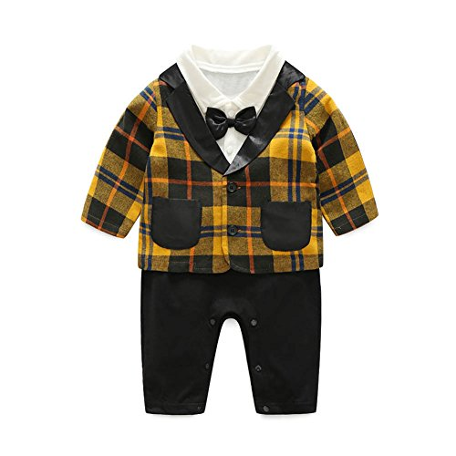 Yellow Tuxedo Top Hat (Diamondo Baby Toddler Boys Long Sleeve Gentlemen Bowknot Plaid Coat Rompers Outfit (Yellow, Age :18-24M))