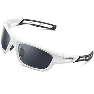 Torege Polarized Sports Sunglasses for Men Women Cycling Running Driving Fishing Golf Baseball Glasses EMS-TR90 Unbreakable Frame TR007 (White&Black&Gray lens)