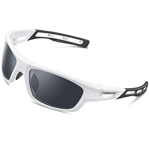TOREGE Polarized Sports Sunglasses for Men Women Cycling Running Driving Fishing Golf Baseball Glasses EMS-TR90 Unbreakable Frame TR007 (White&Black&Gray Lens)