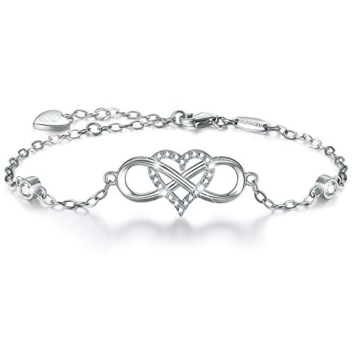 (BlingGem Women's 18K White Gold-Plated 925 Sterling Silver Cubic Zirconia Infinity Heart Bracelet)