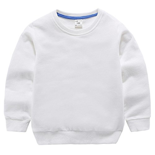 Fairy Baby Little Boy Girl Kid Cotton Outfit Sweatshirt Long Sleeve Shirt Solid Pullover Size 1T (White)