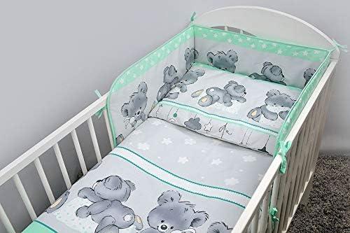 Baby nursery 3 Piece Bedding Set Fits Cot 120 cm Cot Bed 140 cm-Happy bear