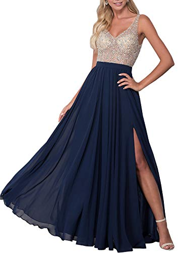 (Lianai Women's Backless V-Neck Beading Evening Party Gown Slit Chiffon Prom Dress Navy Blue,6)