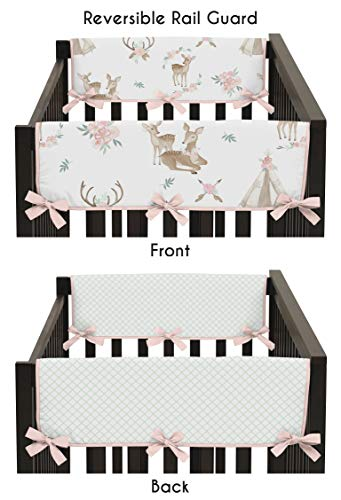 (Sweet Jojo Designs Blush Pink, Mint Green and White Boho Side Crib Rail Guards Baby Teething Cover Protector Wrap for Woodland Deer Floral Collection - Set of 2)