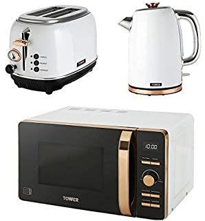 Tower Rose Gold Black Kitchen Appliance Retro Stylish Set